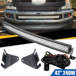 Fit 11-16 Ford F250 F350 Hidden Bumper 42and039and039 Curved Led Light Bar Brackets+switch