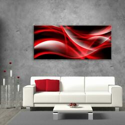 Glass Picture Toughened Wall Art Unique Modern Print Red Abstract Waves Any Size