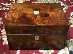 Mappin And Bros Ca. 1875 Rosewood Mother Of Pearl Fitted Travel Case Necessaire