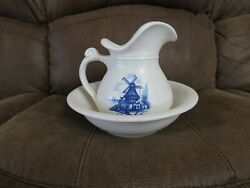 Vintage Mccoy Water Pitcher And Basin 7515, Windmill