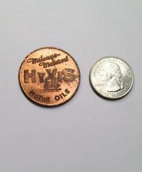Mileage Metered Hyvis Motor Oils Token Is Mint State Red Gorgeous Condition