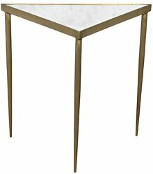 20 L Set Of 2 Triangle Accent Table Smooth Stone Top Antique Brass Framework