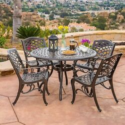 High Class Antique Dining Set Circle Table And Metal Chairs Garden Pool Furniture