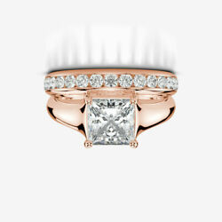 1 34 CARAT VVS1 D DIAMOND BAND RING PROMISE REAL 14K ROSE GOLD RED WOMEN