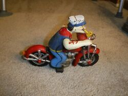Vintage Popeye On A Motorcycle Diecast Model Toy