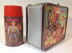 1965 Canadian Bonanza Metal Lunch Box With Correct Thermos From Canada Rare