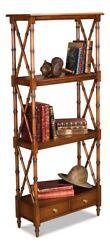 58 T Tranquillo Etagere Shelf Bamboo Detail Frame Solid Walnut Two Base Drawers