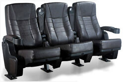 6 New Movie Cinema Chairs Faux Leather Rocker Home Theater Seating Rocking Seats