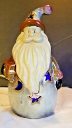 Santa Clause Tea Lite Candle Holder Glazed Bisque moon star cut outs
