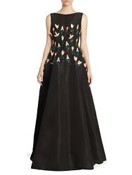6995 New Lela Rose Tulip Embroidered Silk Black Gown 3d Flowers Pearl Dress 0 2