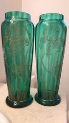 Moser-style 19th Century Emerald Green Glass Vases With Raised Gold Iris