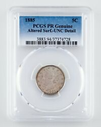1885 5c Liberty Nickel Graded By Pcgs As Pr Genuine Altered Surface - Unc Detail