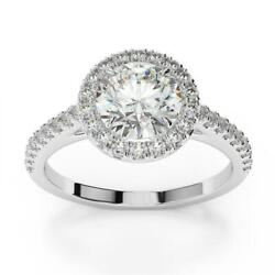 Classic Gorgeous Diamond Round Cut Ring 18 K White Gold 1.25 Ct Si2 F Accents