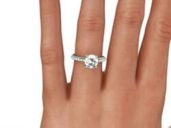 Best Option Accented F Si2 1.35 Ct Round Cut Diamond 14 K White Gold Ring
