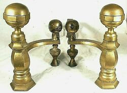 Antique Pair Of Early 19th Century Federal Boston Brass Andirons