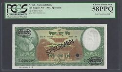 Nepal 100 Rupees Nd1961 P15s Specimen Tdlr About Uncirculated