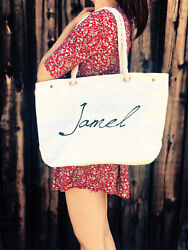 Large Canvas Tote Bag Beach Bags Travel Picnic Gym Summer Tote Holliday Black W $10.50