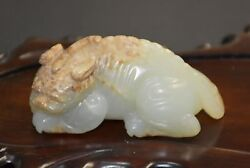Finely Chinese Ming Dy Old Nephrite Jade Carved Strange Animal Pi Xiu Ba Jian