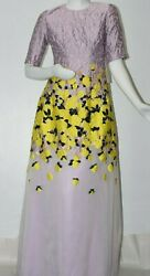 New Lela Rose Lilac Purple Maxi Silk Gown Dress Gown Yellow Flowers Rose Gold 4
