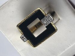 Vintage 18 K Gold Onyx Diamonds Modernist Ring F. Staal And Co Sz 5.5
