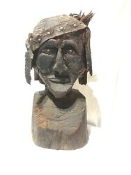 Antique Carved Head Bust Native American 1800andrsquos Folk Art Americana