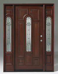Sale Solid Wood Mahogany Pre-hungand Finished 1door W/ 2 Sl Tmh7525-gl02