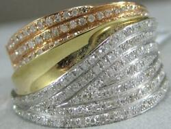 Modern Wide Pave Diamond 14k Wyr Gold Fancy Bypass Cocktail Ring 15mm 87bn34ryw
