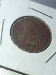 1902 One Cent Indian Head Penny Copper Circulated