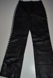 ST JOHN SPORT BY MARIE GRAY Black Leather Pants Checkered Sides w/ Fringes Sz 10