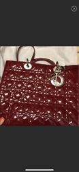 Authentic Christian Dior Lady Dior Bag In Red Patent Skin Large Size
