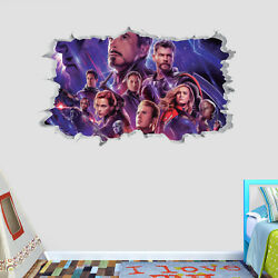 Avengers End Game Wall Hole 3d Decal Vinyl Sticker Decor Room Smashed