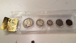 1910-s U.s. Coin Set 90 Silver Barber Half Dollar, Qtr And Dime Circulated