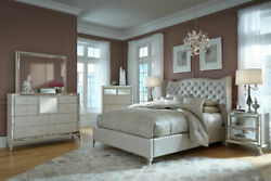 Aico Furniture - Hollywood Loft Frost 3 Piece Queen Upholstered Bedroom Set -...