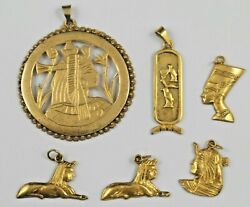 Vintage Fine Silver Egyptian Pendants, All Marked, Great Condition, From Estate