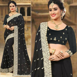 Designer Latest Collection ethnic Classical Georgette embroidery saree fabric