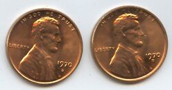 1970-d Lincoln Cents 8505 High And Low D Varieties. Both Coins Red Gems.