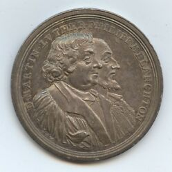 Germany Augsburg 1730 Medal Luther And Melanchton 1441 Silver. 200 Anniv.