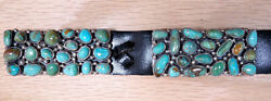 Sweet Navajo Sterling Silver Hachita Turquoise Cluster Design Concho Belt 37D-51
