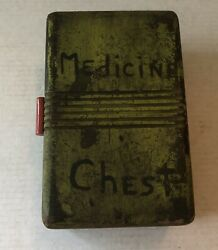 Antique Vintage Medicine Chest Wood Dovetail Red Bakelite Handle Box Apothecary