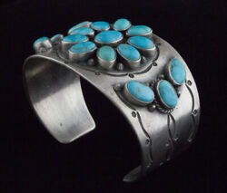 Old Style Natural Kingman Turquoise Cluster Bracelet By Leonard T. Chee
