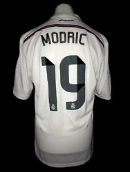 Real Madrid 2014-15 Home Vintage Football Shirt 19 Modric - Excellent Condition