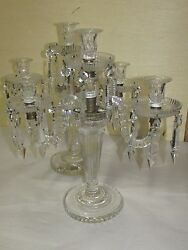 Pair Very Good Antique Glass Cut Crystal Candelabra Lamps English French