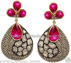Victorian 6.33cts Rose Antique Cut Diamond Ruby Studded Silver Earring Jewelry