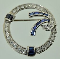 18k White Gold Diamonds And Sapphires Brooch Art Deco