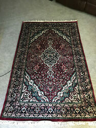Genuine Hand Knotted Vintage Persian Area Rug 75 X 46.5 Deep Mauve And Teal