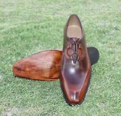 Handmade Menand039s Leather Oxfords Antique Brown Formal Dress Stylish Shoes-407