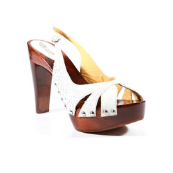 $550 Sergio Rossi women designer white Leatherwood heel shoes - 100% Authentic $184.95
