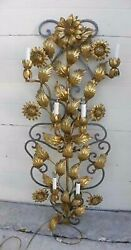 """Amazing Antique Italian Tole Gilt Floral Lighted Huge 47"""" Wall Sconce"""
