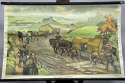 Vintage Pull-down Wall Chart Country Road Middle Ages Transport With Horses