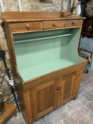 Early American Primitive Antique Country Pine Dry Sink Cabinet Chamfered Drawers